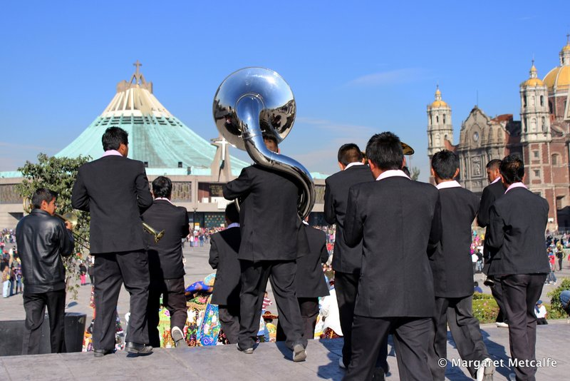 Band playing at the Basilica