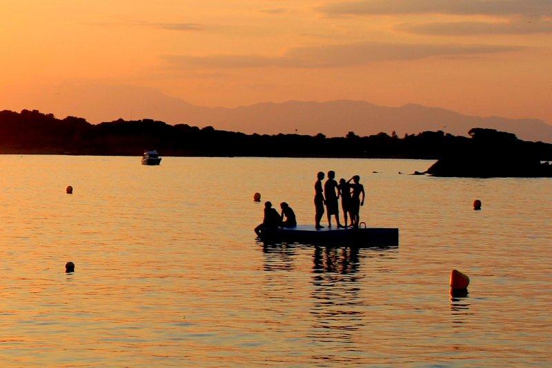 Bathers at dusk
