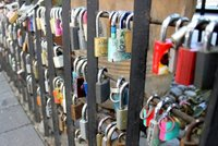 Padlocks locked to railings