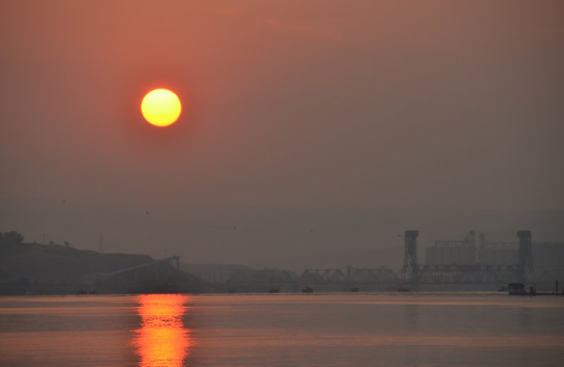 Smoky Sunrise Over Lewiston