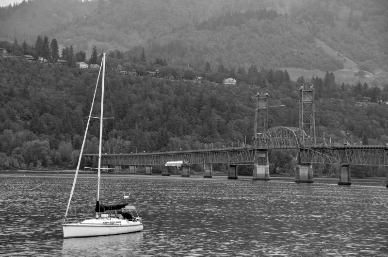 Sailboat and Hood River Bridge