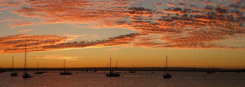 la paz sailboats at sunset