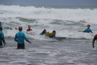 special olympians learning to surf