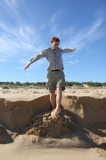 Falling down a sand bank