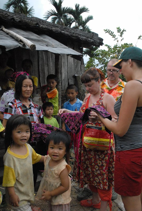 Buying handmade  items at a Miao Village
