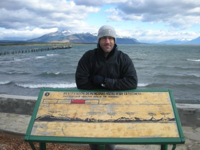 Checking out the mountains, from Puerto Natales harbour
