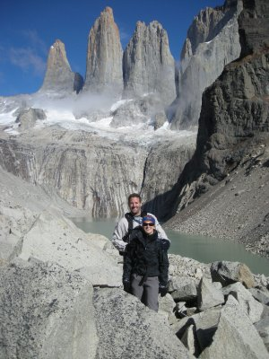 Us at the finish - the Torres - Torres del Paine Nat Park