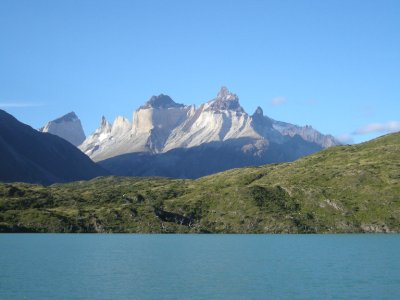View of the torres from the lake - Torres del Paine Nat Park