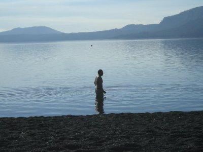 Sunny day, Seth swimming, Pucon