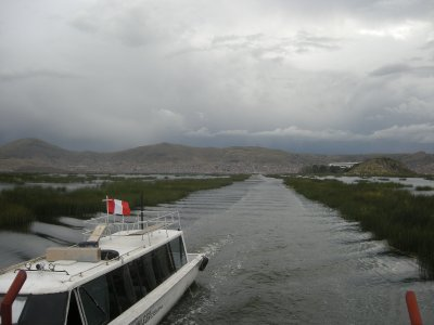 Looking back to Puno from Lake Titicaca