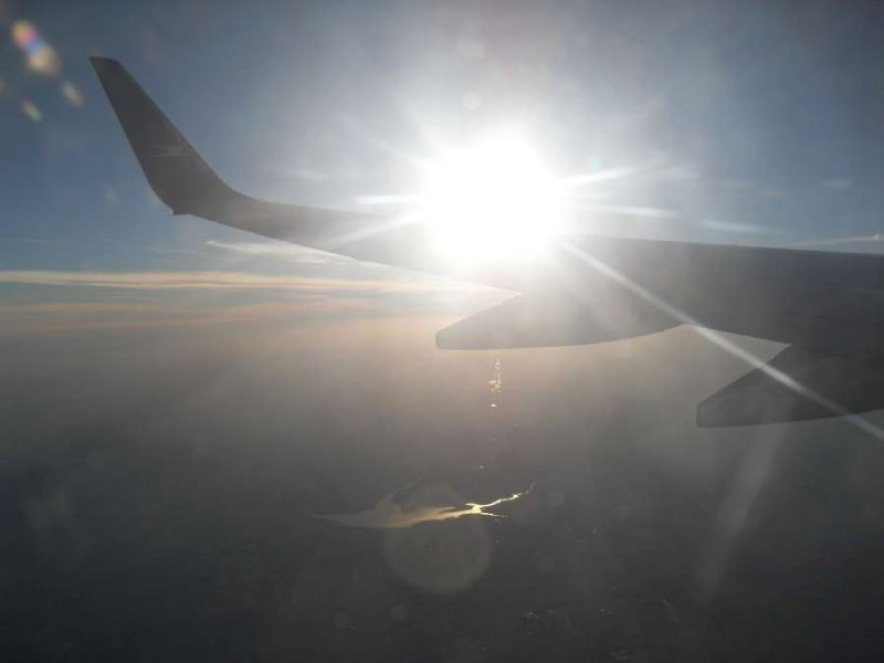 Shiny sun plane scene