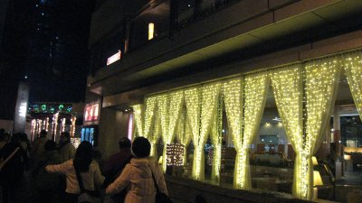 Lighting along the building