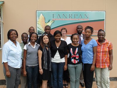Danielle Nierenberg with Dr. Lindiwe Sibanda, CEO of FANRPAN, and FANRPAN staff outside their office in Pretoria, South Africa. (Photo: Bernard Pollack)