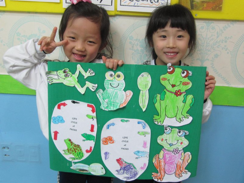 Amy and Patty, frog art