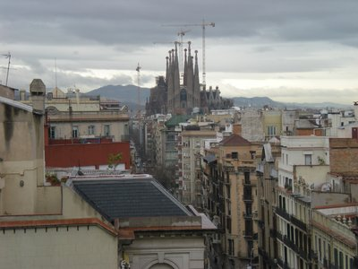 View of La Sagrada Familia from La Pedrera Rooftop!