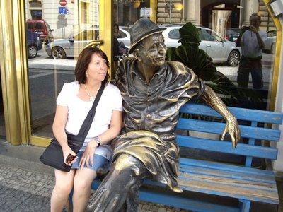 Anna with Sculpture in Prague
