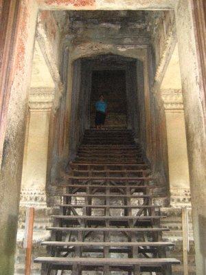 Sarah inside Angkor Wat