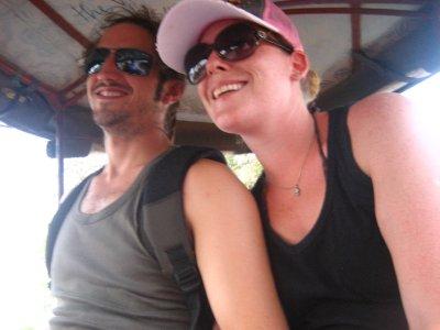 Ken and Clara riding in the Tuk Tuk around Angkor