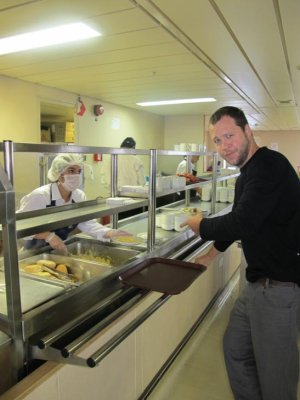 Our first meal on board the ships high-school like cafeteria!