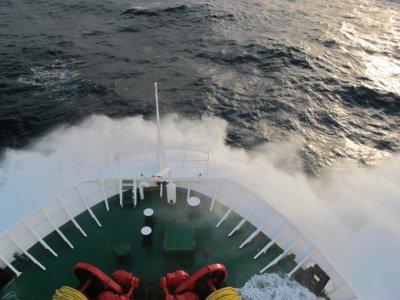 Entering rough seas as we pass through the Pacific Ocean