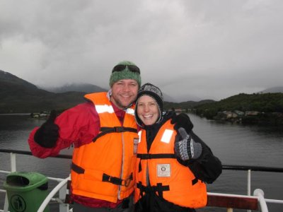 Everyone had to wear bright orange life jackets for the Puerto Eden excursion