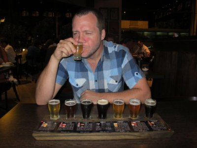An aficionado doing some beer tasting in Rosario microbrewery
