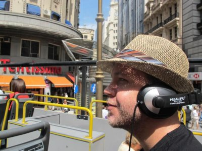 DJ Benrama on the open-air bus