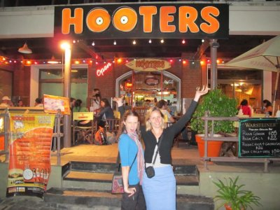 Chelle and George putting on a show outside their favourite restaurant!