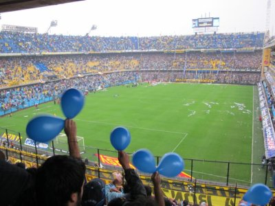 The blue balloons fill the stadium