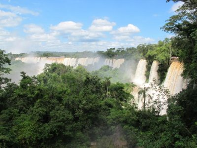 Our first glimpse of Iguazu Falls