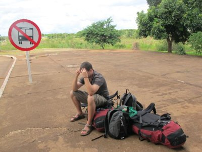 A sorry sight! Ben crossing the border into Brazil sick as a dog.