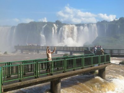 The walkway over the water and to the edge of some falls on the Brazilian side