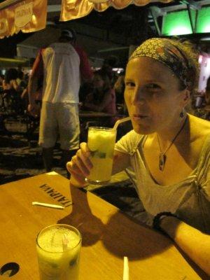 Enjoying the famous Brazilian Caprihini Cocktail