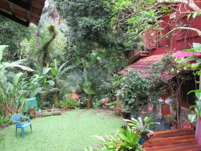 The garden of our cute hostel up in the hills