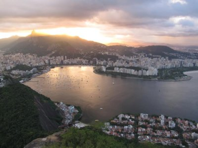 The sun setting over beautiful Rio
