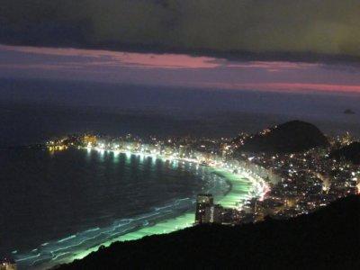 The famous Copacabana Beach lit up at night