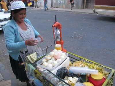 Fresh squeezed OJ in Cochabamba