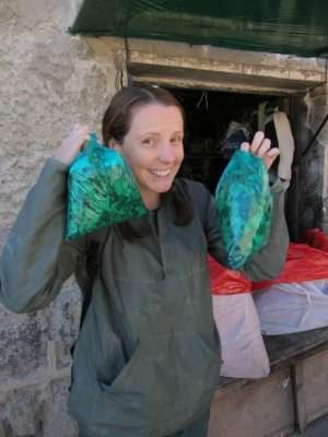 Chelle with her Coca leaf loot!