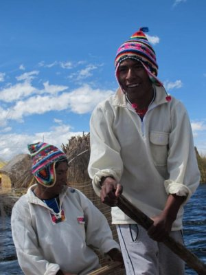 Catching a boat ride on Lake Titicaca