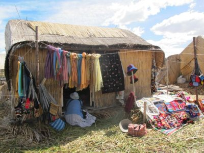 A tourist shop on one of the Floating Islands, Lake Titicaca