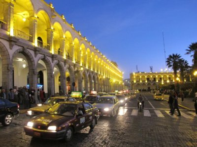 The main plaza of Arequipa at night