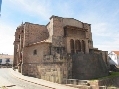 Incan wall as the foundation to a local Cathedral