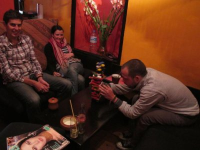 Hanging out with Luke and Tori - Jenga was a popular game in Cusco!