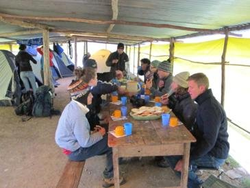 Dinner and a cold night at camp