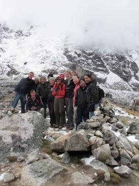 We made it! Our group at the 4,600m pass. It was cold!