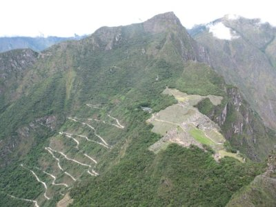 The zig-zagging road up to Machu Picchu