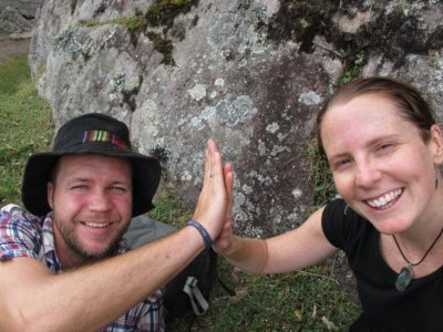 High 5 for successfully climbing the Huayna Picchu mountain!