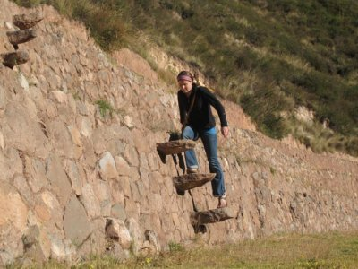 Climbing the tiny Incan steps