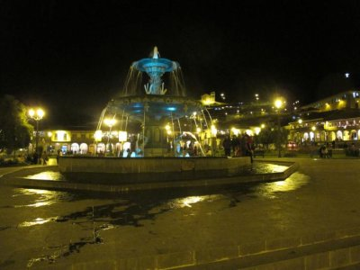 Cusco's main plaza lit up at night