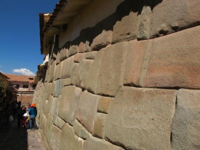 Ancient Incan stone walls line the streets of modern day Cusco
